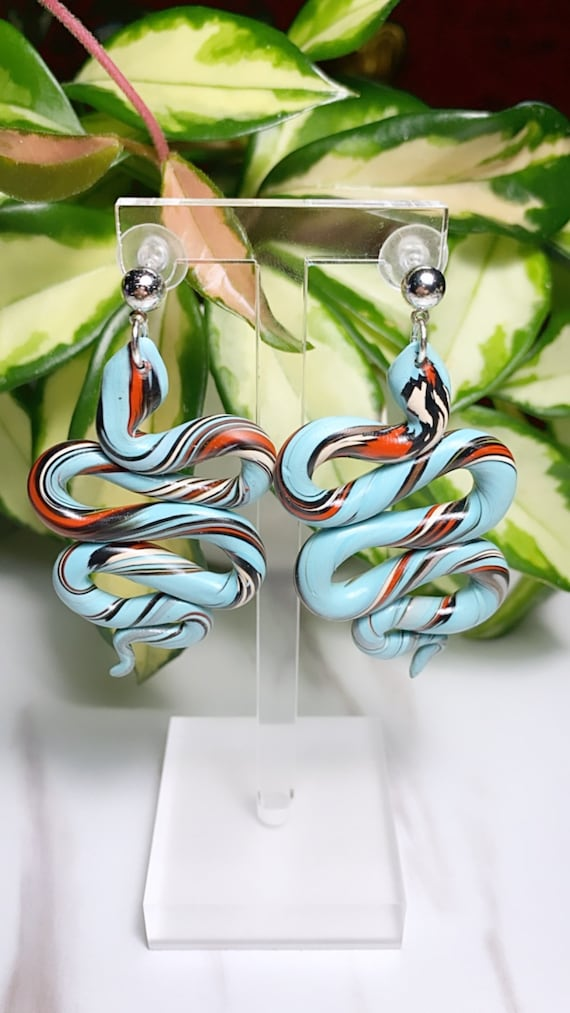 Jungle Slithereens Statement Earrings Silver serpent snake Python Aqua teal Baby Blue