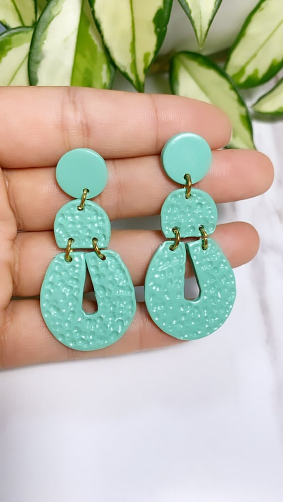 Not So Plain Jane Collection teal Statement Earrings Clay Jewelry Green