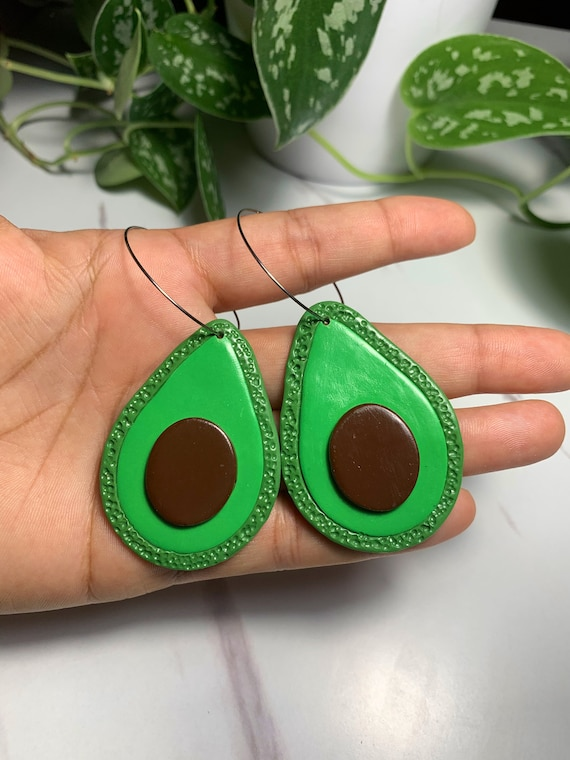 Made to order Medium Size Fruity Avocado statement Earrings hoops silver green