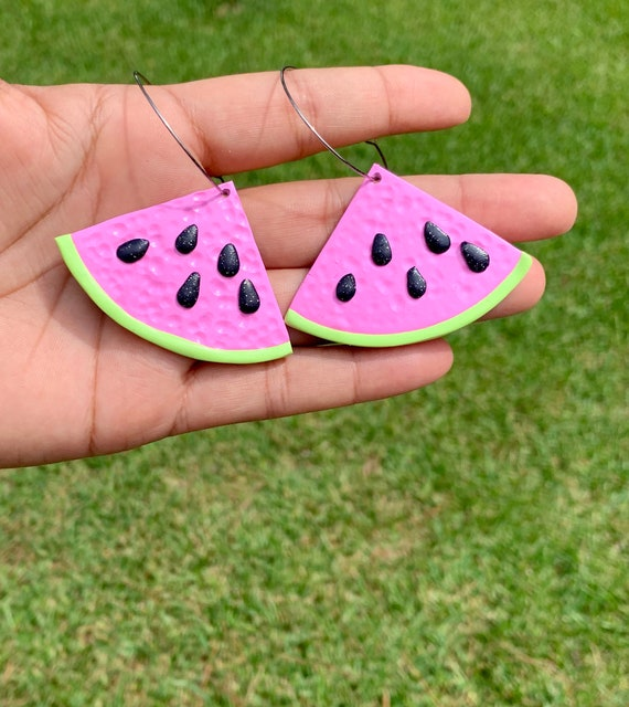 Made to order Large  Fruity Watermelon slice statement Earrings gold hoops silver  pink green black glitter