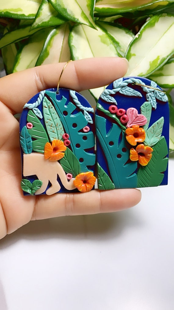 Limited Edition Jungle Boggie Rainforests Statement Earrings panther Gold Teal coral leaf