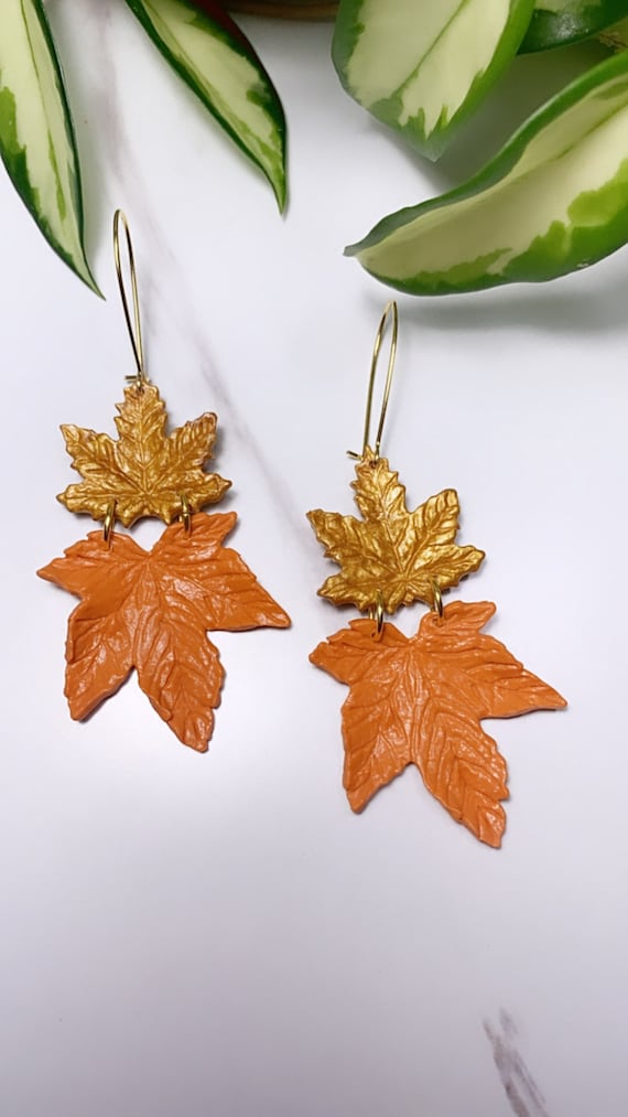 Autumn Maple Leaf Double  Gold Forest Green Orange terra-cotta Statement Earrings Fall Leaves Clay hoops hooks clip ons dangle