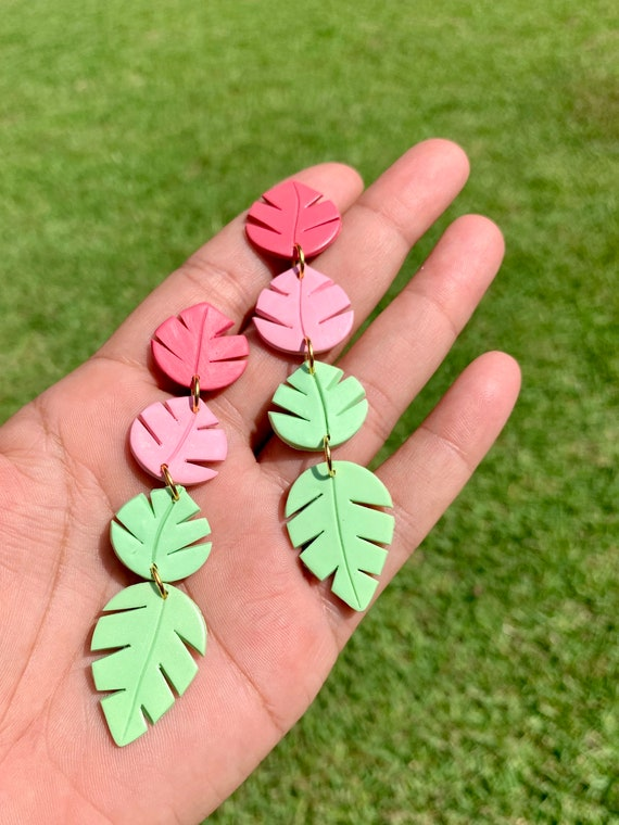 Palm Leaf Dangle Hand Cut Earrings  hooks gold silver gold  Pink green chartreuse coral large