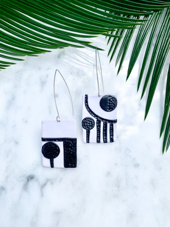 Black and White Mod Statement Earrings Clay Original unique Dangles hook silver