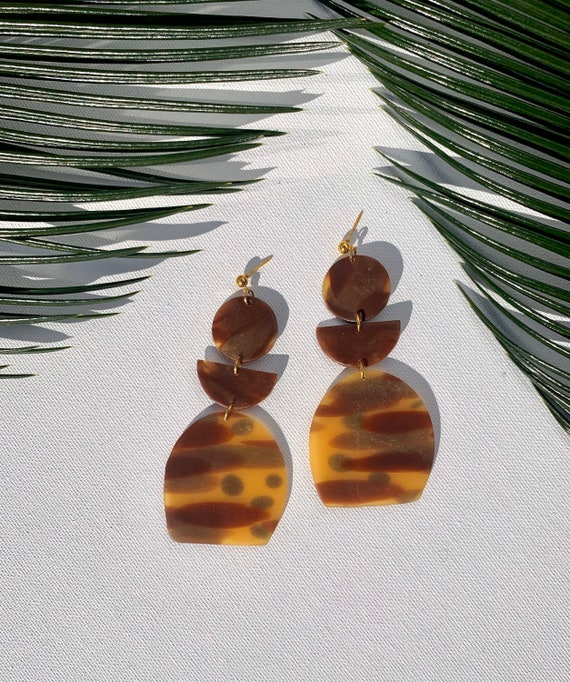 Tortoise Shell Statement Earrings Clay Jewelry Lightweight  Amber  Translucent