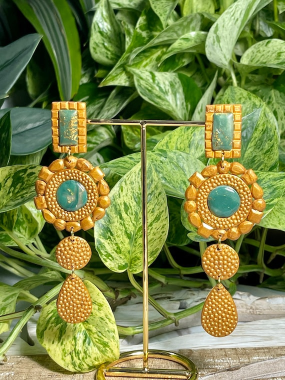 Drama Queen Collection Statement Earrings Gold Crown Jewels Dangles Large Oversized