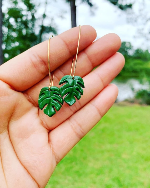 Mini Monstera Earrings  hooks gold silver Green
