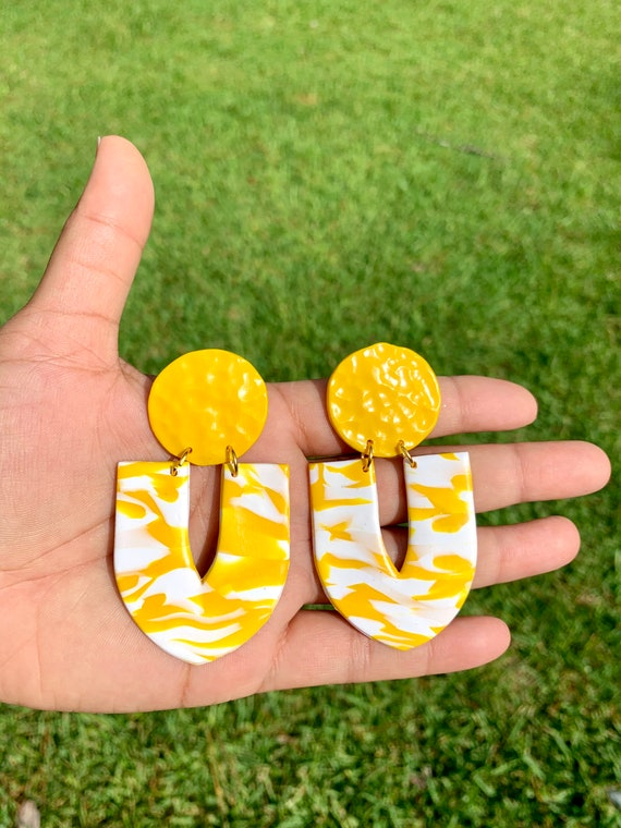 Yellow and White  hammered U shape Large Statement Earrings Clay Spring drop polymer unique marbled summer fun