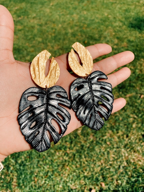 Palm Beach Monstera Big Statement Earrings Black Gold or silver Leaf Dangles