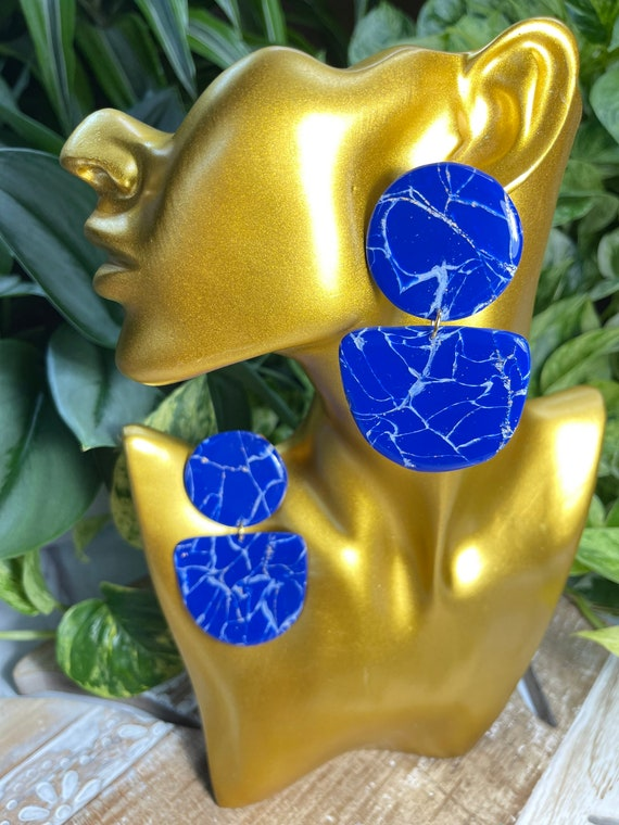 Lapis Lazuli Dream Collection Oversized Mega Statement Earrings Clay Jewelry Lightweight Unique Vintage Look