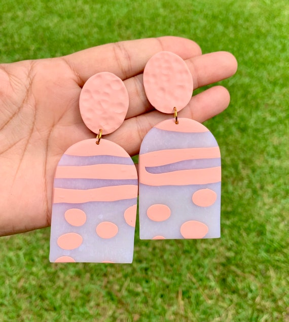 Painted Glass Collection Statement Earrings Clay Jewelry Lightweight   Coral peach blush Translucent hammered