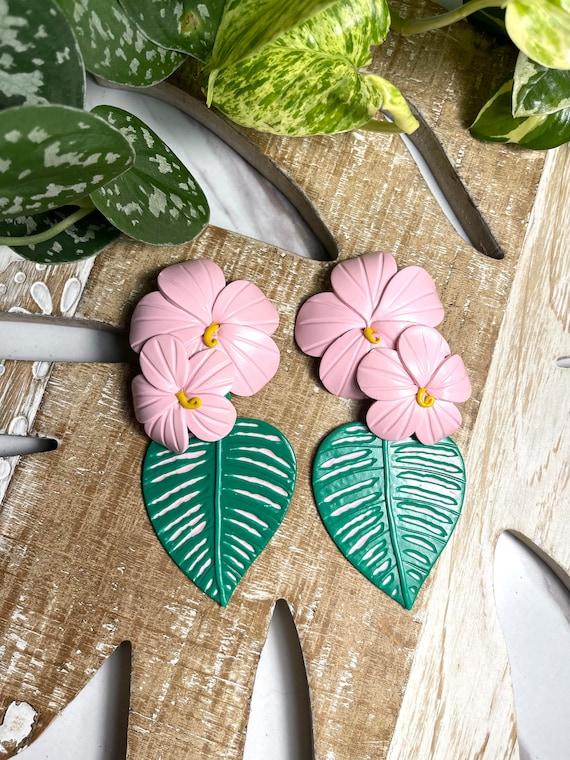 Bahama mama Leilani tropical island collection Statement Earrings Hand cut Leaf Dangles flowers