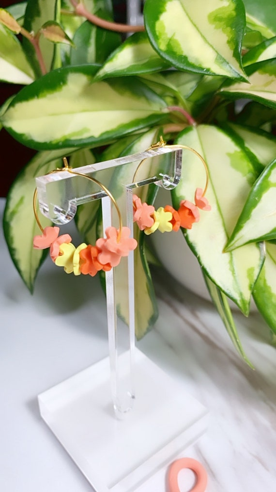 Spring Fling Floral Hoops Coral Yellow  and gold Statement Earrings Small Dangles flowers petal