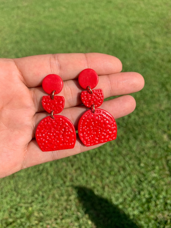 Miami Coral Red Small Statement Earrings  Clay Jewelry