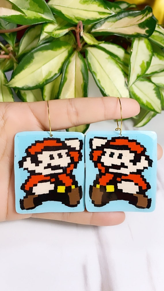 Super Mario Inspired Statement Earrings 8 bit Gamer Retro Polymer Clay Resin dangle Hoops Super Size XL