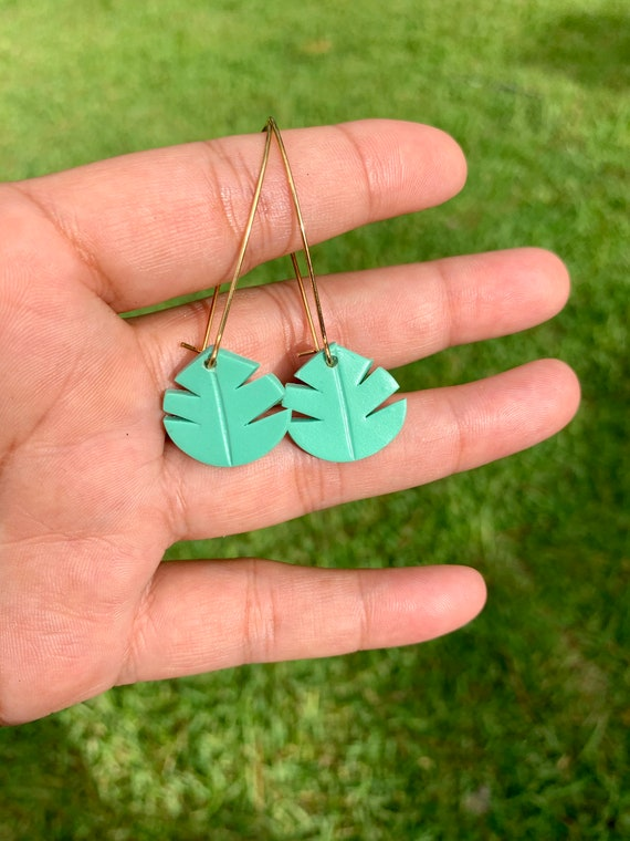 Small Palm Hand Cut Earrings  hooks gold silver gold  Teal Mint