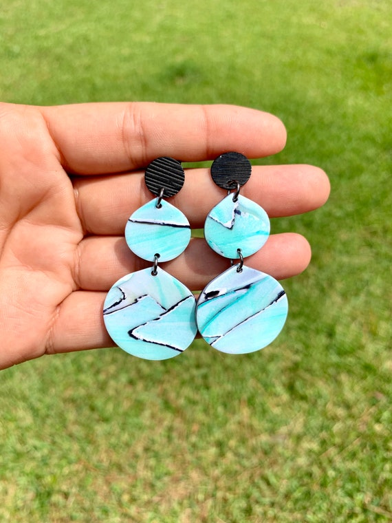 Painted Glass Collection Statement Earrings Clay Jewelry Lightweight  Teal Green black white gold Translucent hammered watercolors