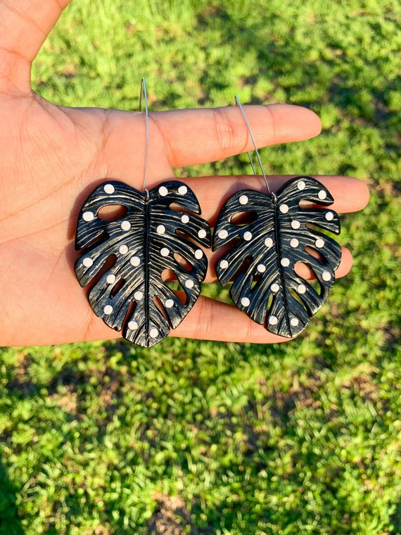 Palm Beach Monstera Big Statement Earrings Black And White polka dots Gold or silver Hooks Leaf Dangles