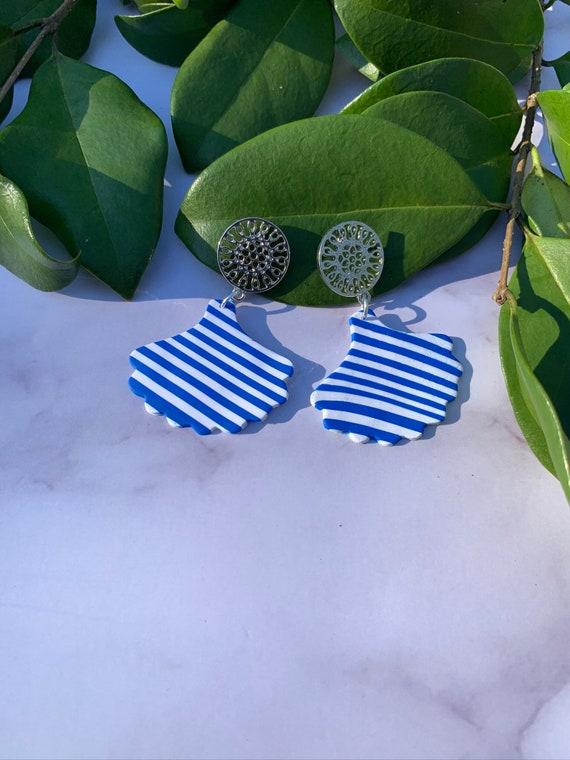 Royal Blue Family Statement Earrings  Clay Jewelry Stripes Fan Silver