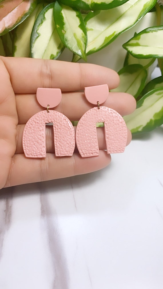 Spring Fling Contemporary pink coral and gold Statement Earrings Large Dangles Polymer clay and Arch