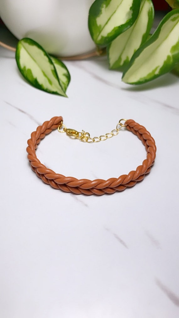 Rope Braid Bracelet adjustable clasp Cognac rust  terra cotta Earrings Fall  Clay  olive green knit crochet