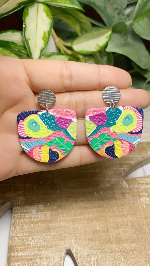 Toucan Dreams Limited Edition Abstract  Textured Statement Earrings Green pink neon Gold Yellow blue  floral flower leaf multicolored