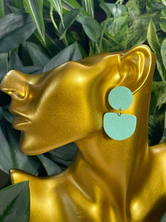 Complexed Simplicity Collection Statement Earrings Small Clay Jewelry Mint Teal Aqua Sea Foam