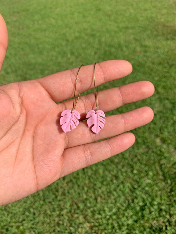 Mini Monstera Earrings Pink hooks gold silver Statement earrings Delicate