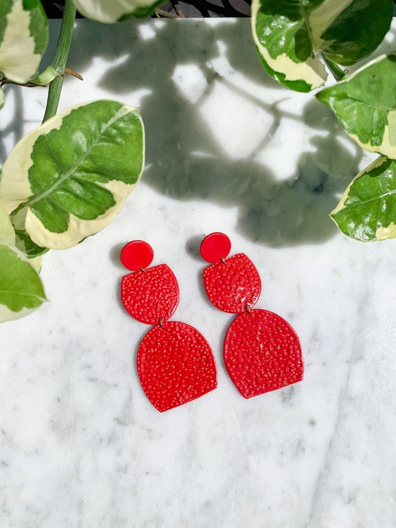 Miami Pomegranate Red Large Statement Earrings  Clay Jewelry