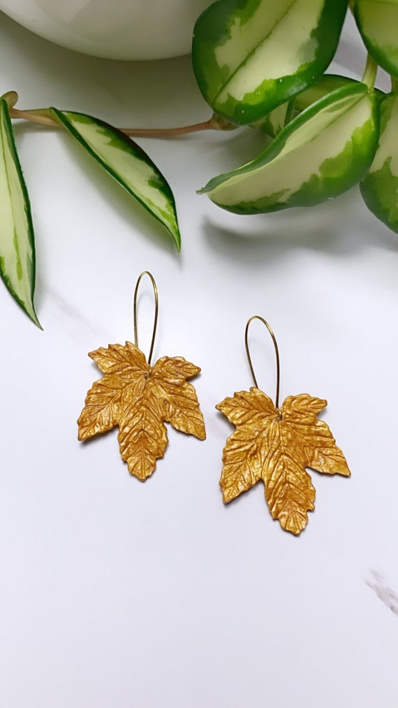 Autumn Maple Leaf in Gold Foil Statement Earrings Fall Leaves Clay hoops hooks clip ons