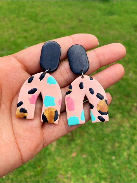 Wild Child Collection  Terrazzo BoHo modern Statement Earrings Clay Original unique Dangles Teal pink Leopard print