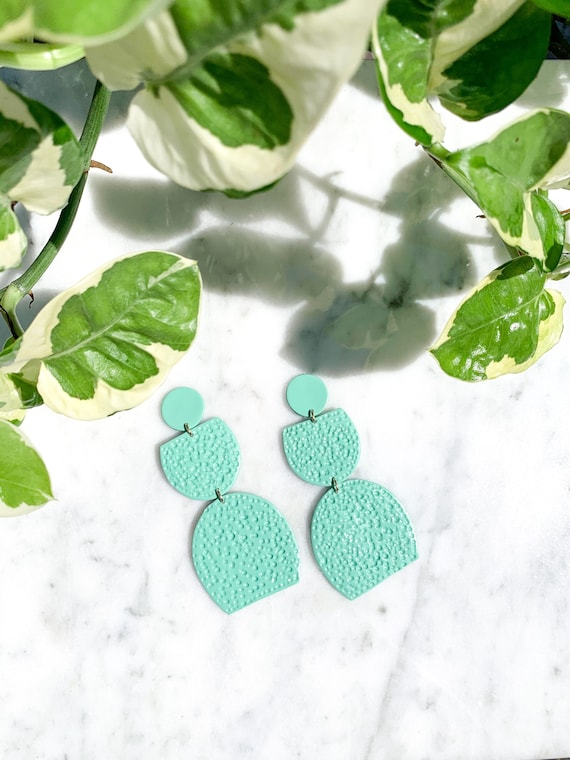 Miami Mint Aqua Large Statement Earrings  Clay Jewelry