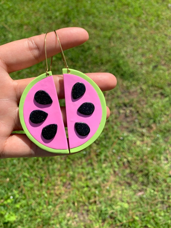 Made to order Extra Large Fruity Watermelon slice statement Earrings gold hoops silver  pink green black glitter