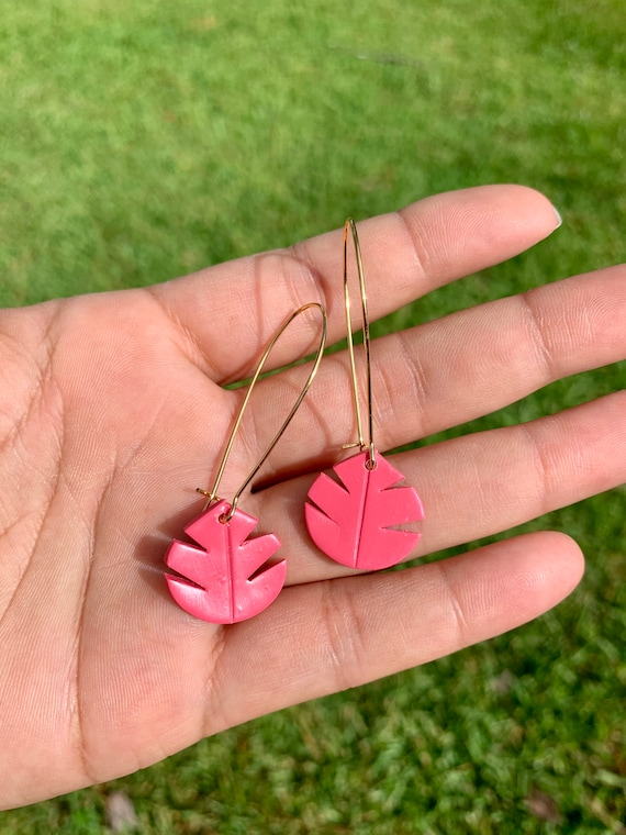 Small Palm Hand Cut Earrings  hooks gold silver gold  Pink coral watermelon