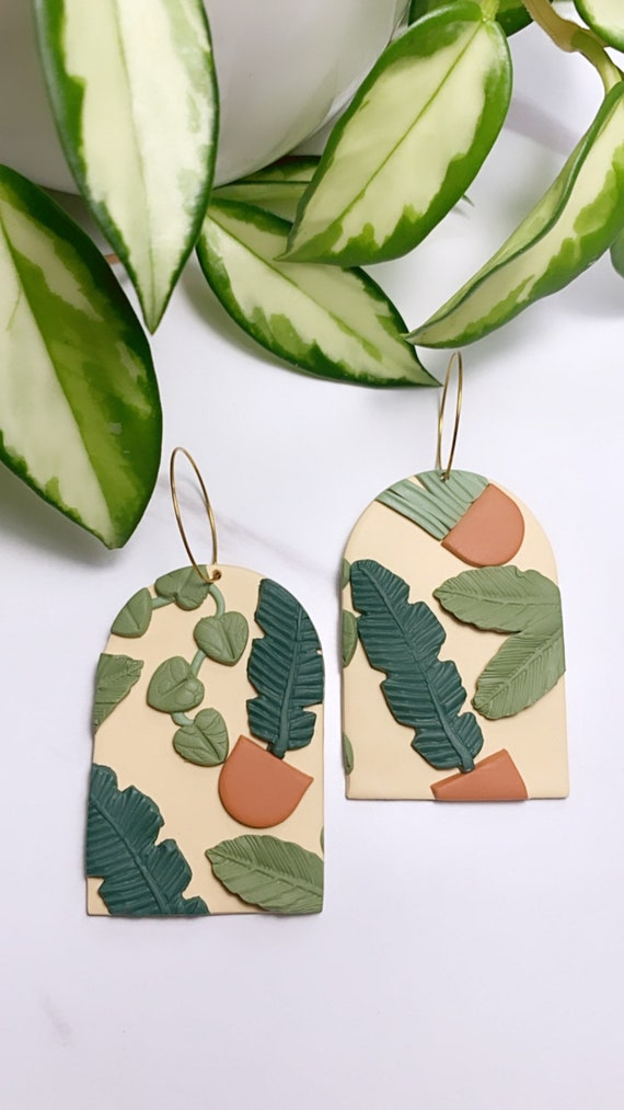 Oasis Collection terra cotta pots Statement Earrings gold or silver hook made to order plants plant lady bold unique ooak Ecru green olive