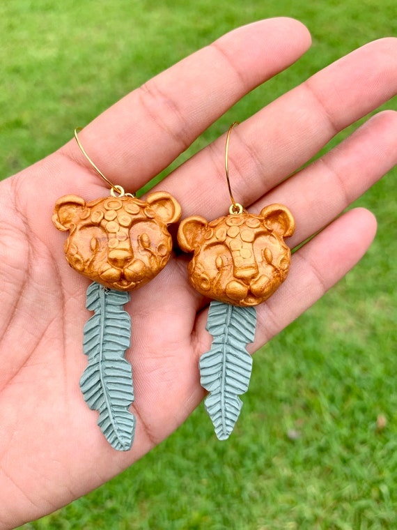 Custom Pre Order Listing Jungle Cat Statement Earrings Antique Gold Leopard Leaf