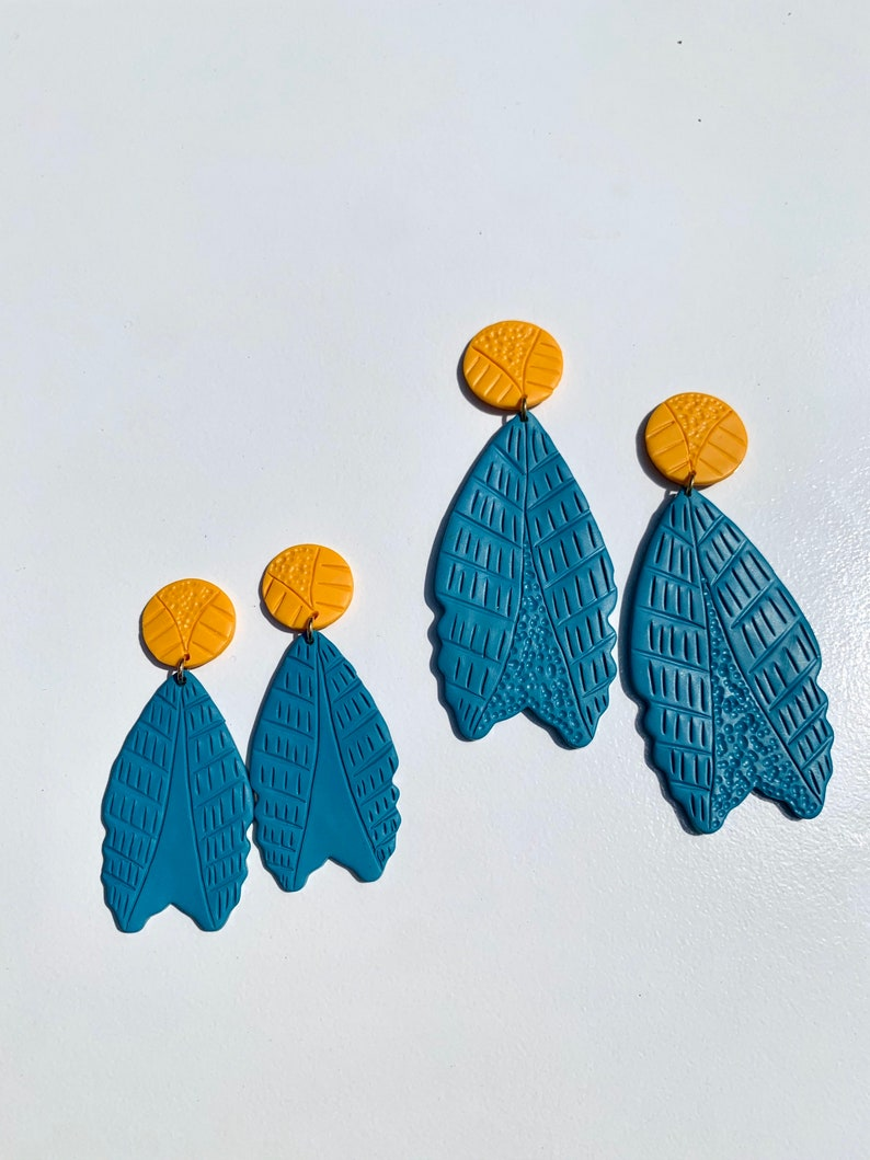 Indian Summer Collection BoHo Statement Earrings Clay Original unique Dangles Arrowhead Leaf Orange Rust Teal Yellow