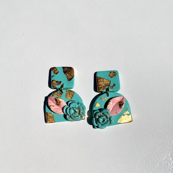 Spring Fling Contemporary Mint and gold Statement Earrings Large Dangles Polymer clay and Arch Teal Pink Coral floral succulent