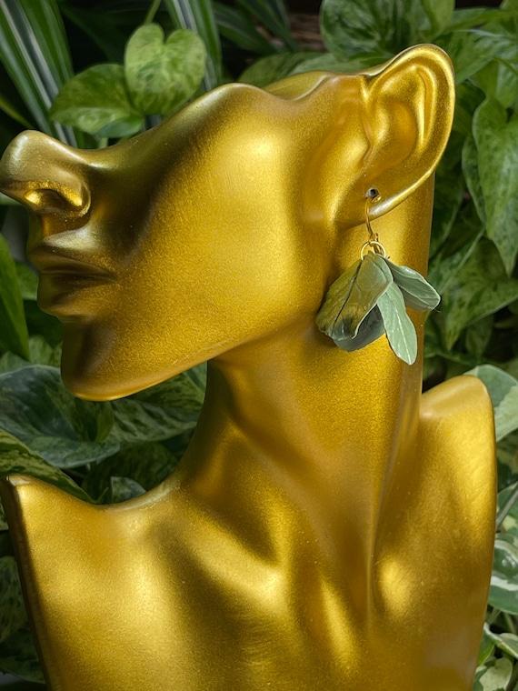 Fiddle leaf fig statement earrings  Gold  leaf dangle  statement