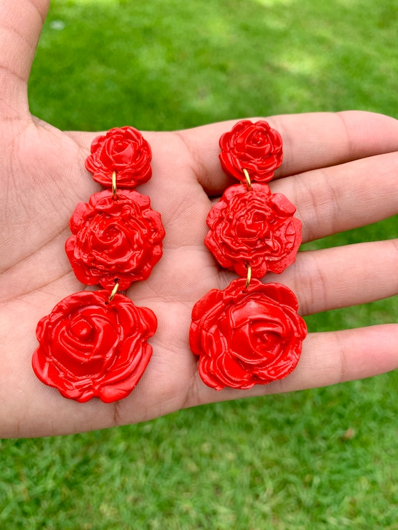Floral Arrangement Rose large dangles statement Earrings red drop gold