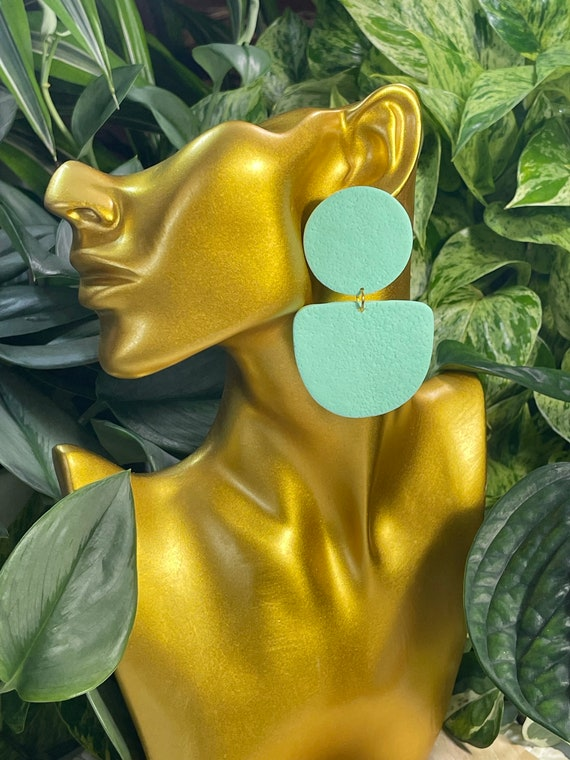 Complexed Simplicity Collection Statement Earrings Clay Jewelry Mint Teal Aqua Sea Foam