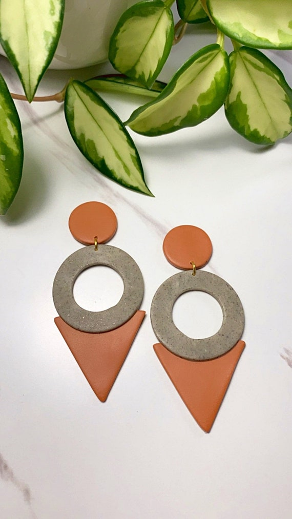 Nessa 90's inspired Terra-Cotta Statement Earrings Fall polymer Clay clip ons dangle granite minimalist