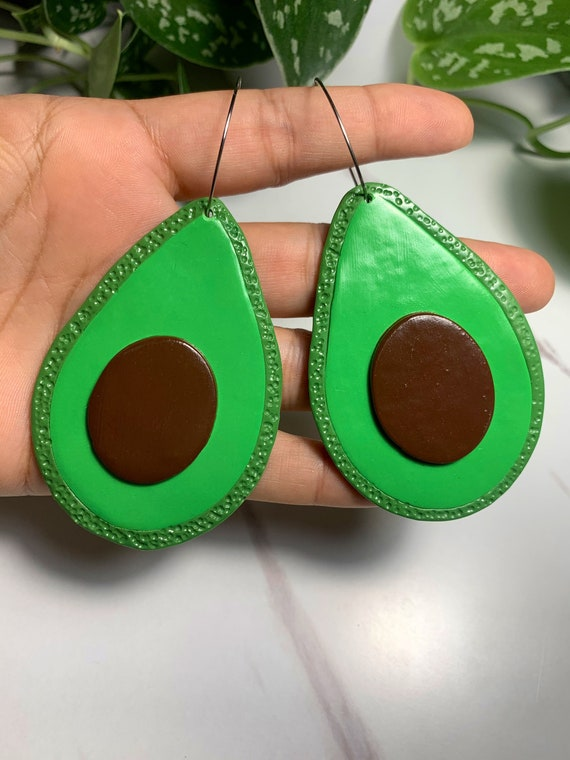 Made to order Large Fruity Avocado statement Earrings hoops silver green