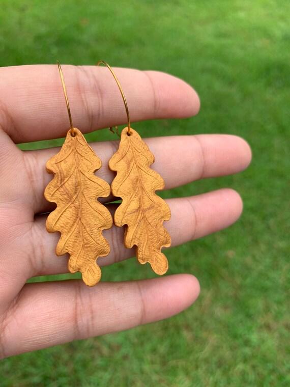 Fall Leaf Earrings Gold hooks gold Statement earrings antique Delicate drop