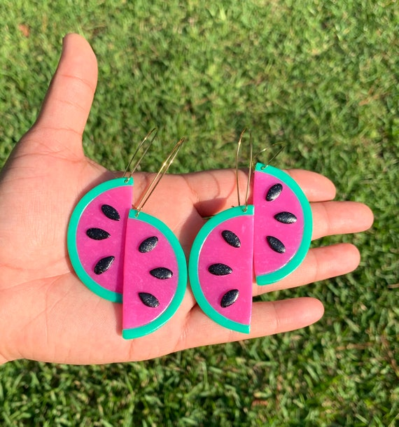 Made to order Large Fruity Watermelon slice statement Earrings gold hoops silver Translucent pink green black glitter