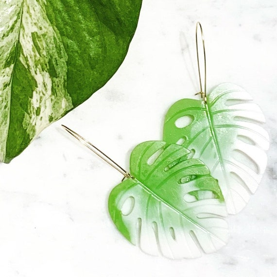 Palm Beach Variegated Monstera Big Statement Earrings Green White  Gold or silver Hoops Leaf Dangles