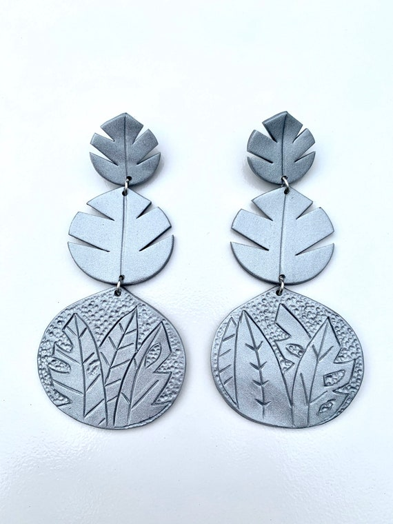 Palm Beach tropical flowerFloral Statement Earrings Clay Original unique spring Dangles monstera silver