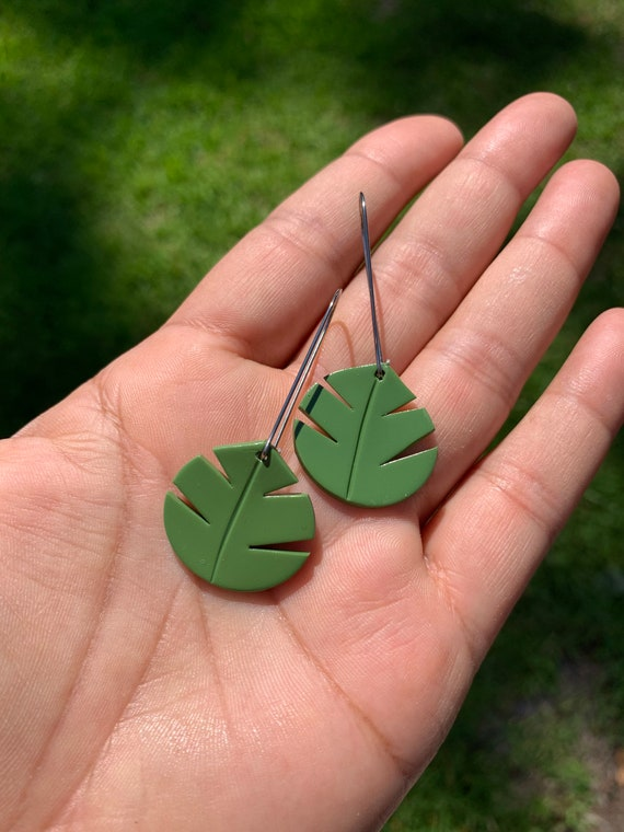 Small Palm Hand Cut Earrings  hooks gold silver gold  Green