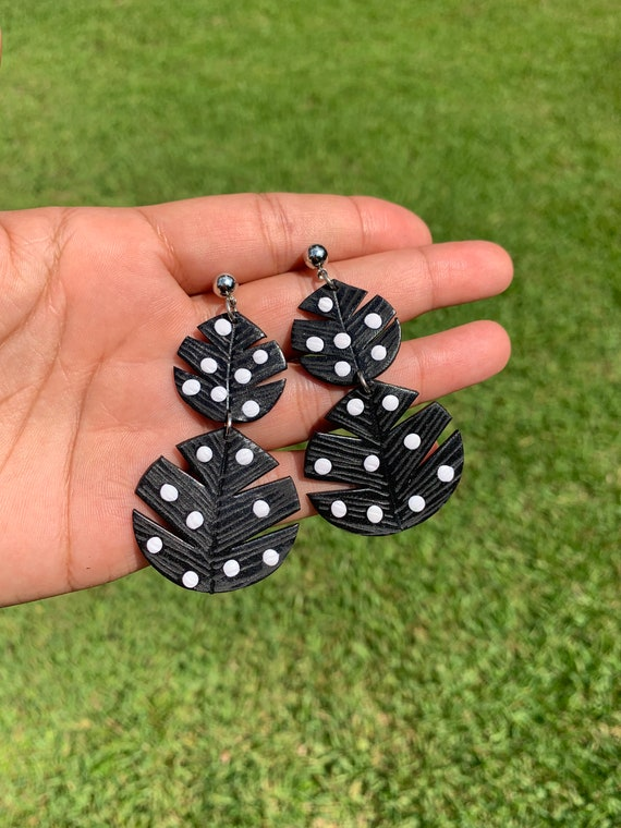 Palm beach collection black dot Statement Earrings Large Circles Dangles Big bold chic lightweight jewelry palm beach