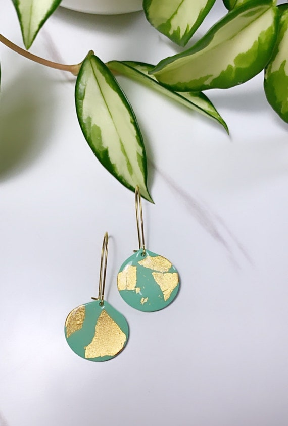 Teal Gold foil collection Statement Earrings Small tear drop  Dangles Hoop chic lightweight jewelry drop dainty elegant polymer clay Resin